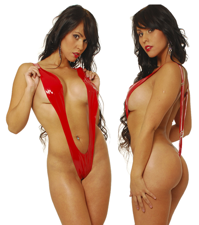 Body Ajustable En V De Vinilo En Color Rojo